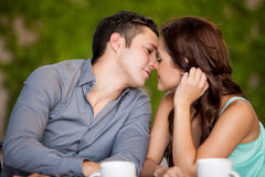 关于亲吻在第一个日期 免版税图库摄影