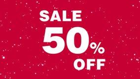 关于促进的生气蓬勃的消息折扣的50% 销售额 在红色背景的白色文本 库存例证