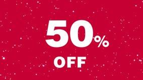 关于促进的生气蓬勃的消息折扣的50% 销售额 在红色背景的白色文本 向量例证