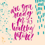 关于健康未来的手字法海报 图库摄影