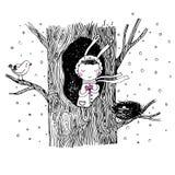 关于兔宝宝、树和鸟的故事 免版税库存照片