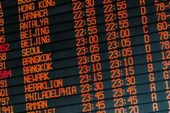 关于国际航班的信息在时间表 免版税库存图片
