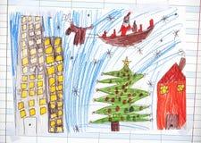 关于圣诞老人的圣诞节例证 库存照片