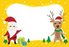 关于圣诞老人项目的边界图表动画片和驯鹿在圣诞节 向量例证
