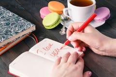 关于在笔记本写的爱的词组 背景蓝色框概念概念性日礼品重点查出珠宝信函生活纤管红色仍然被塑造的华伦泰 库存图片
