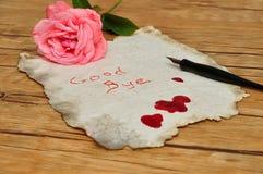 关于在血液盖的一张老纸的一个自杀遗书 库存照片