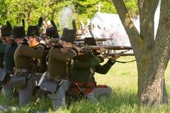 关于场面战争的1812次争斗制定 免版税库存图片