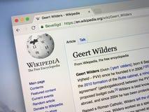 关于基尔特・威尔德斯的维基百科页 免版税库存图片