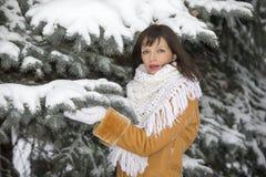 关于多雪的云杉的女孩 免版税库存照片