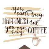 关于幸福和coffe的激动人心的字法海报 免版税库存照片