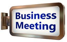 关于广告牌背景的业务会议 库存例证