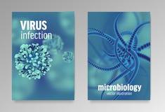 关于微生物学和病毒的海报 3d微观细菌 皇族释放例证