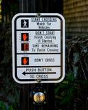 关于怎样的指示穿过街道 库存图片