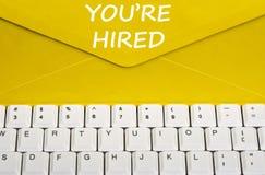 关于您的被聘用的消息 免版税图库摄影