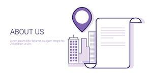 关于我们联络信息查寻企业概念模板与拷贝空间的网横幅 免版税库存图片