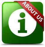 关于我们绿色方形的按钮 库存图片
