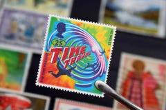 关于时间旅行的英国邮票(社论) 免版税库存图片