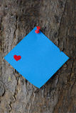 关于树干的蓝色华伦泰便条纸 免版税库存照片