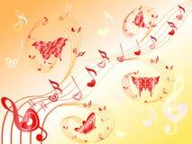 关于梯级的音符与心脏和蝴蝶 免版税库存照片