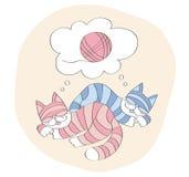 关于比赛的猫梦想与球 库存图片