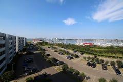 关于游艇港口的全景神色从Burgtiefe & x28; Fehmarn& x29; 免版税库存图片