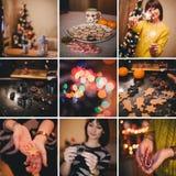 关于烘烤圣诞节曲奇饼的圣诞节拼贴画在家 免版税库存照片
