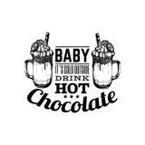 关于热巧克力的行情印刷背景 免版税库存照片