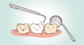 关于牙齿诊断和治疗的漫画 库存照片