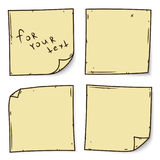 关于白色背景,传染媒介例证的黄色棍子笔记 免版税图库摄影