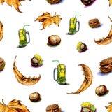 关于秋天的无缝的样式标志,栗子 免版税库存图片