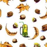 关于秋天的无缝的样式标志,栗子 库存图片