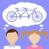 关于自行车的女孩梦想 免版税图库摄影
