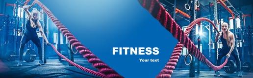 关于锻炼的拼贴画在健身健身房 免版税图库摄影