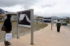 关于马岛战争的照片陈列在马尔维纳斯群岛地区在乌斯怀亚 库存图片