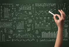 关于黑板的企业人绘图数据 免版税库存图片