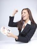 关于货币的女实业家战斗 库存图片