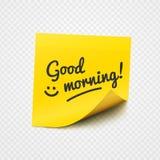 关于黄色稠粘的纸的早晨好笔记 图库摄影