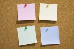 关于corkboard的笔记 免版税库存图片