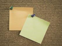 关于corkboard的笔记 免版税库存照片