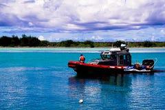 关岛火救助艇海岛  库存照片
