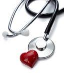 关心健康重点医学听诊器工具 免版税库存照片