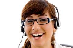 关心客户女性纵向微笑 免版税库存照片