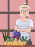 关心对室内植物的妇女 向量例证