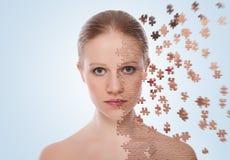 关心概念化妆用品影响皮肤处理 免版税图库摄影