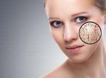 关心概念化妆用品影响皮肤处理 库存照片