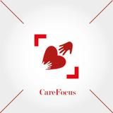 关心焦点、商标模板、手和心脏,传染媒介例证 免版税库存照片