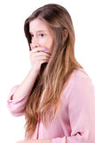 关心的妇女覆盖物嘴 免版税图库摄影