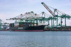 关税和贸易战货箱船 免版税库存图片