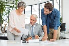 关联白肤金发的商业她的膝上型计算机一显示的小组对妇女工作 免版税库存照片