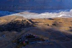 关键修道院鸟瞰图在斯皮迪谷,喜马偕尔邦,印度 图库摄影